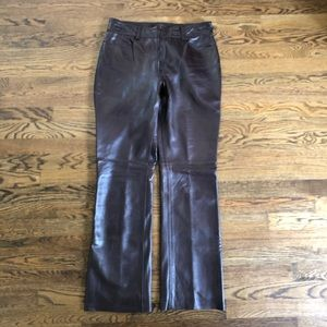 Banana Republic Leather Bootcut Pants—6